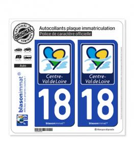18 Centre-Val de Loire - Région | Autocollant plaque immatriculation