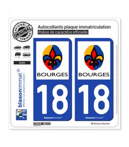 18 Bourges - Ville | Autocollant plaque immatriculation
