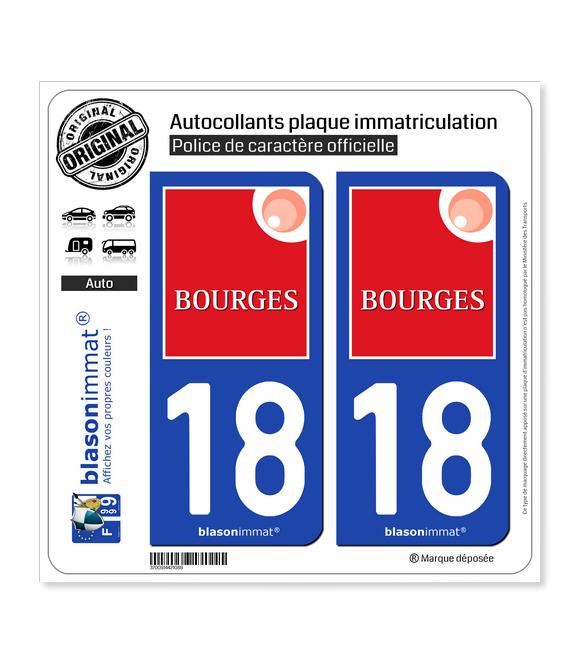 18 Bourges - Agglo | Autocollant plaque immatriculation