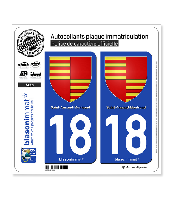 18 Saint-Amand-Montrond - Armoiries | Autocollant plaque immatriculation