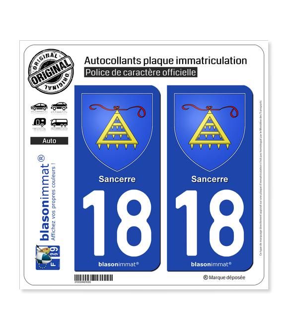 18 Sancerre - Armoiries | Autocollant plaque immatriculation