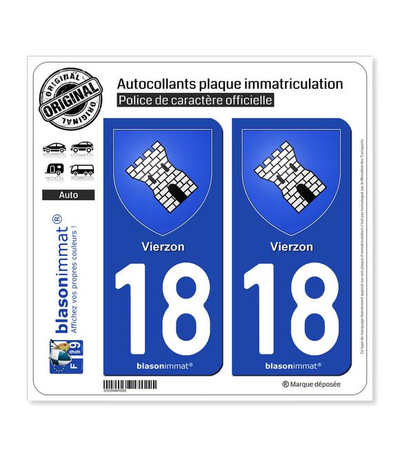 18 Vierzon - Armoiries | Autocollant plaque immatriculation