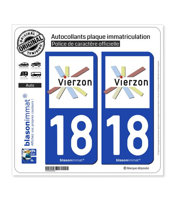 18 Vierzon - Ville | Autocollant plaque immatriculation