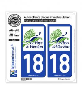 18 Vierzon - Pays | Autocollant plaque immatriculation