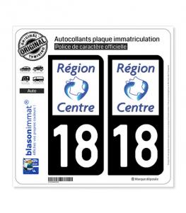 18 Centre-Val de Loire - LogoType | Autocollant plaque immatriculation