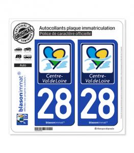 28 Centre-Val de Loire - Région | Autocollant plaque immatriculation