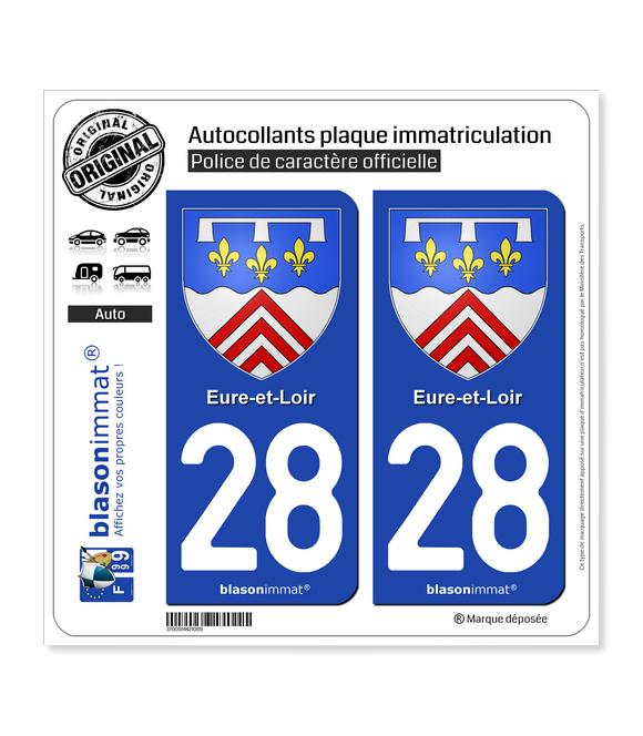 28 Eure-et-Loir - Armoiries | Autocollant plaque immatriculation