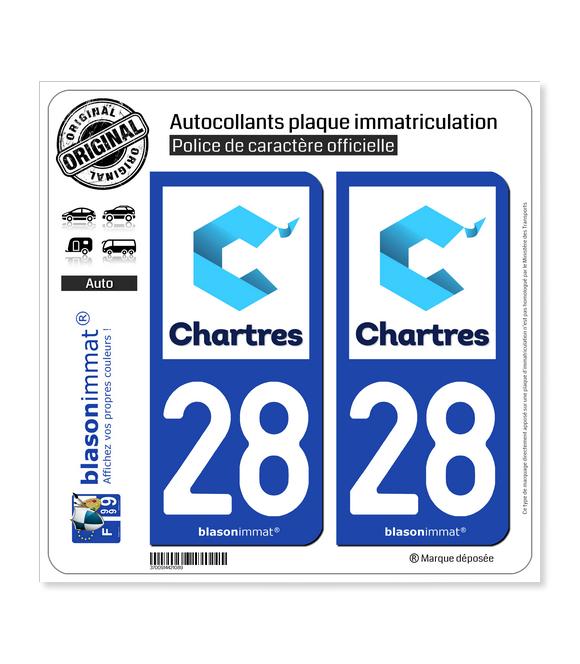 28 Chartres - Tourisme | Autocollant plaque immatriculation