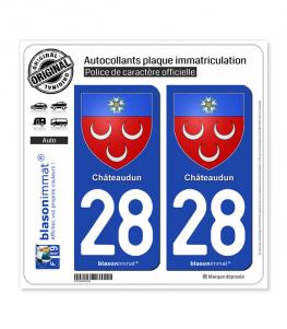 28 Châteaudun - Armoiries | Autocollant plaque immatriculation