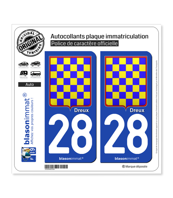 28 Dreux - Armoiries Synthétique | Autocollant plaque immatriculation