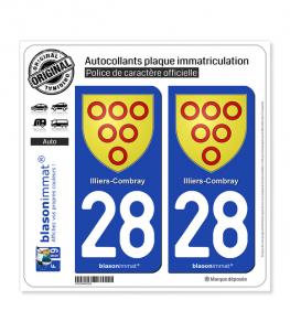 28 Illiers-Combray - Armoiries | Autocollant plaque immatriculation