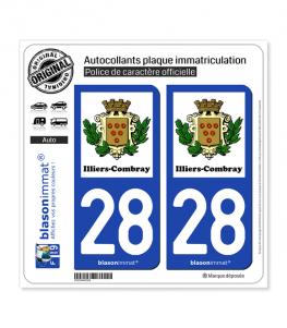 28 Illiers-Combray - Commune | Autocollant plaque immatriculation