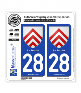 28 Perche - Armoiries | Autocollant plaque immatriculation