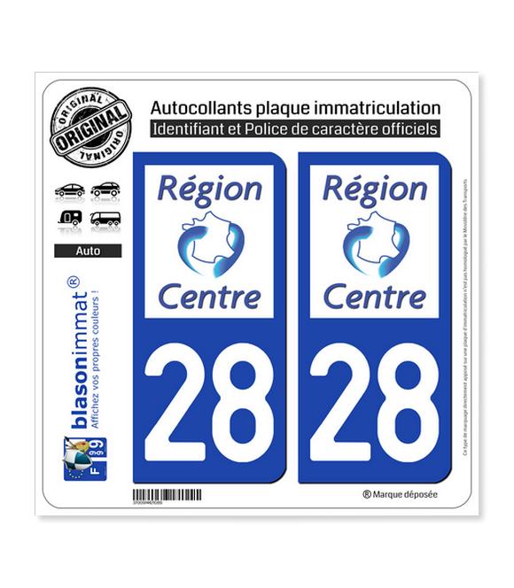 28 Centre-Val de Loire - LogoType | Autocollant plaque immatriculation