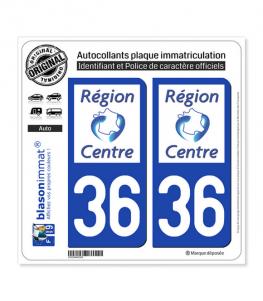 36 Centre-Val de Loire - LogoType | Autocollant plaque immatriculation