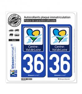 36 Centre-Val de Loire - Région | Autocollant plaque immatriculation