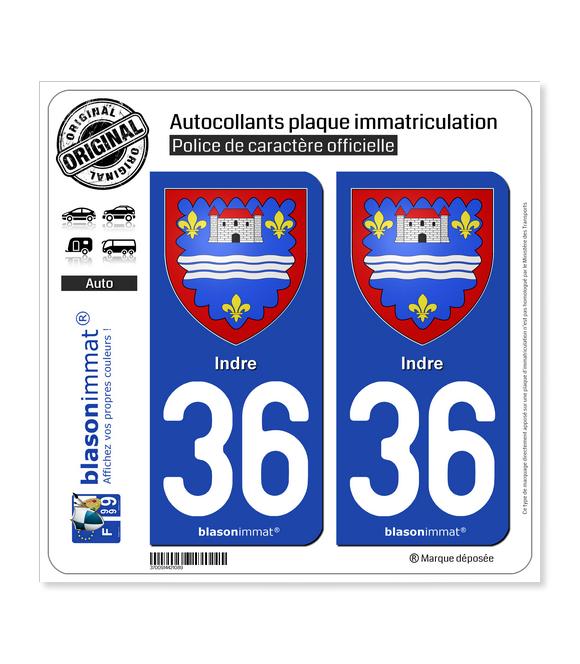 36 Indre - Armoiries | Autocollant plaque immatriculation