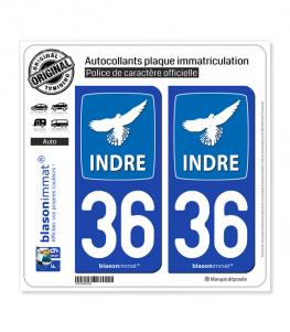 36 Indre - Département | Autocollant plaque immatriculation
