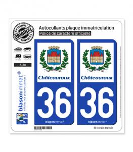 36 Châteauroux - Ville | Autocollant plaque immatriculation