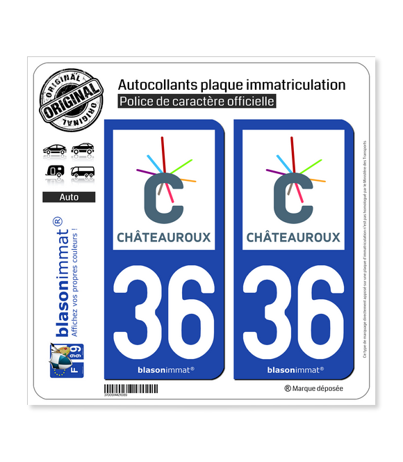 36 Châteauroux - Agglo | Autocollant plaque immatriculation