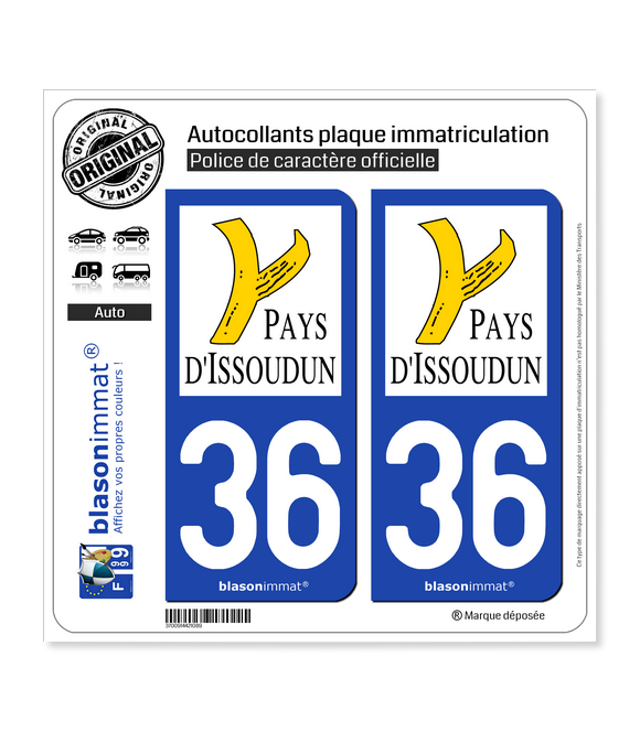 36 Issoudun - Agglo | Autocollant plaque immatriculation