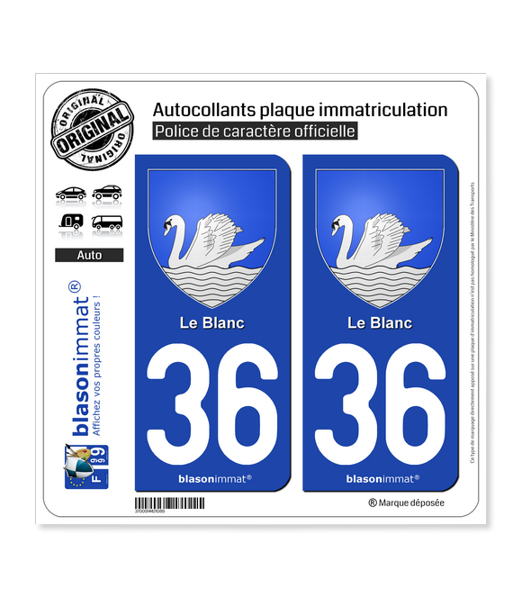 36 Le Blanc - Armoiries | Autocollant plaque immatriculation