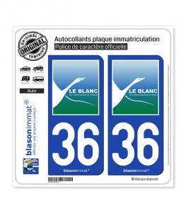 36 Le Blanc - Ville | Autocollant plaque immatriculation