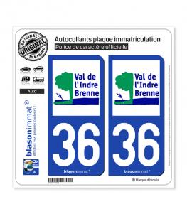 36 Val de l'Indre Brenne - Agglo | Autocollant plaque immatriculation