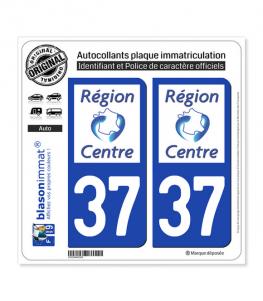 37 Centre-Val de Loire - LogoType | Autocollant plaque immatriculation