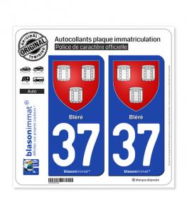 37 Bléré - Armoiries | Autocollant plaque immatriculation