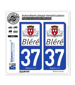 37 Bléré - Commune | Autocollant plaque immatriculation