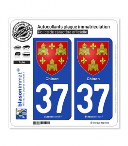 37 Chinon - Armoiries | Autocollant plaque immatriculation