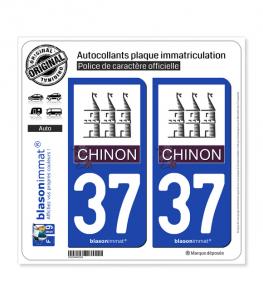 37 Chinon - Ville | Autocollant plaque immatriculation