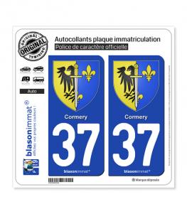 37 Cormery - Armoiries | Autocollant plaque immatriculation