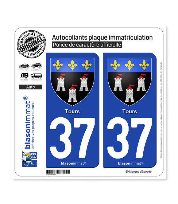 37 Tours - Armoiries | Autocollant plaque immatriculation