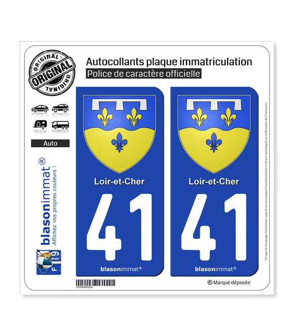 41 Loir-et-Cher - Armoiries | Autocollant plaque immatriculation