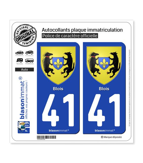 41 Blois - Armoiries | Autocollant plaque immatriculation