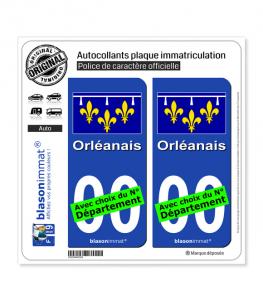 Orléanais - Drapeau | Autocollant plaque immatriculation