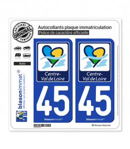 45 Centre-Val de Loire - Région | Autocollant plaque immatriculation