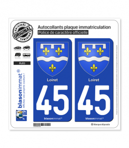 45 Loiret - Armoiries | Autocollant plaque immatriculation