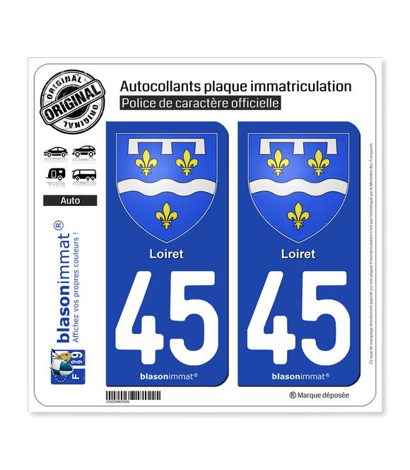 45 Loiret - Armoiries | Autocollant plaque immatriculation