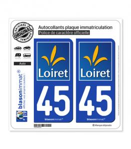 45 Loiret - Département | Autocollant plaque immatriculation