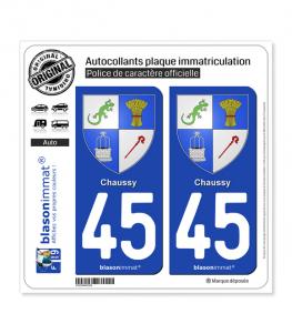 45 Chaussy - Armoiries | Autocollant plaque immatriculation