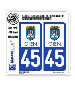 45 Gien - Commune | Autocollant plaque immatriculation