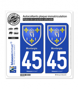 45 Montargis - Armoiries | Autocollant plaque immatriculation