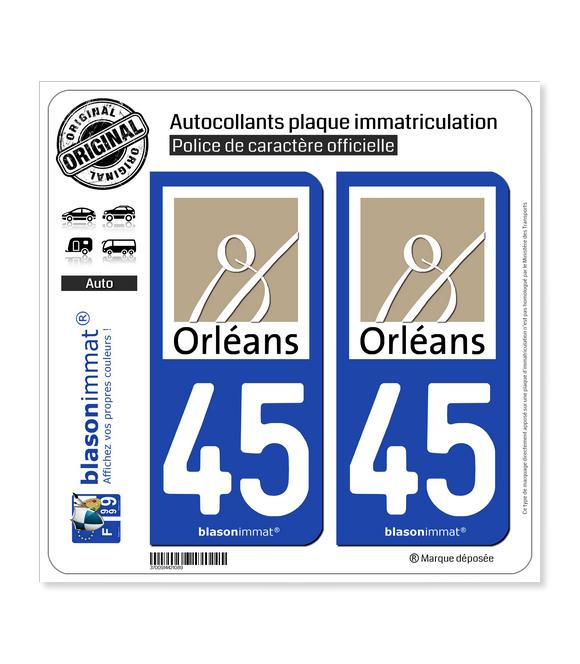 45 Orléans - Ville | Autocollant plaque immatriculation