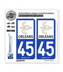 45 Orléans - Tourisme | Autocollant plaque immatriculation