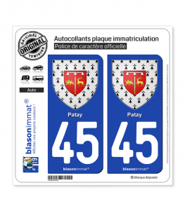 45 Patay - Armoiries | Autocollant plaque immatriculation