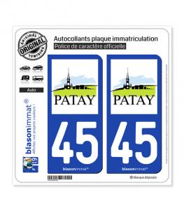 45 Patay - Commune | Autocollant plaque immatriculation