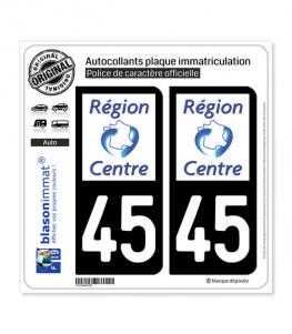 45 Centre-Val de Loire - LogoType | Autocollant plaque immatriculation